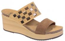 Scholl MOIRA SueOrnam -dámské pantofle na klínku hnědá