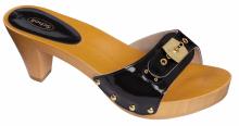 Scholl PESCURA dámské pantofle na podpatku černá