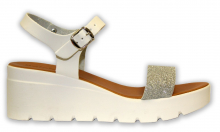 Patrizia letní sandále na klínku stříbrná